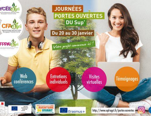 Journées Portes ouvertes du Sup' de l'Enseignement Agricole Public Bourgogne Franche-Comté du 20 et 30 janvier 2021 !